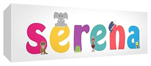 Little Helper LHV-SERENA-2159-15IT Toile pour Nursery avec Panneau Avant, Motif Personnalisable avec nom pour Fille « Serena », Multicolore, 21 x 59 x 3 cm