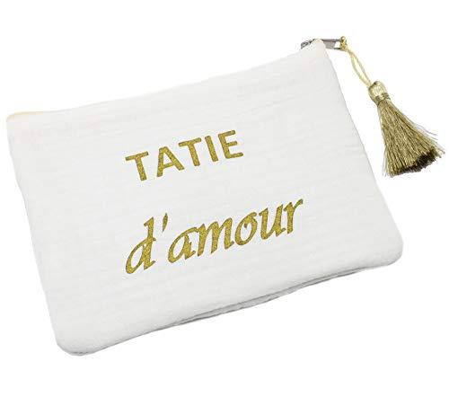 ATM134 - Trousse Pochette Coton Blanc Message Tatie d'Amour Pompon Doré