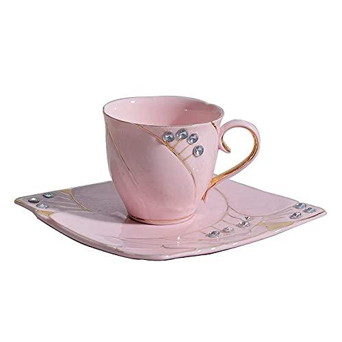 FHISD Taza de café Taza de cerámica Platillo Tarde Juego de Tazas de té de Flores Oficina en casa Taza de Agua Taza de Leche Taza de Bebida de Cacao Caliente Taza de Jugo Dar