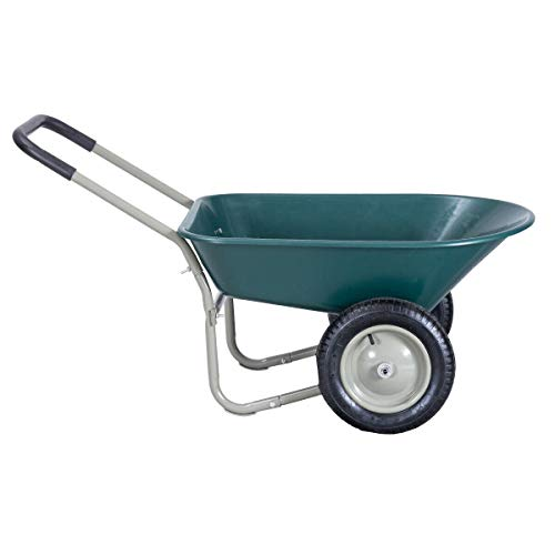 Dual Wheelbarrow Garden Cart Utility Cart Outdoor, Heavy-Duty Steel Frame, Suitable for Patio, Warehouse, and Farm