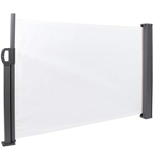 Retractable Side Awning Outdoor Patio Folding Wind Screen Fence Privacy Divider Weatherproof Sun Shade Side Awning Canopy for Garden Outdoor Patio Terrace 39.4x118in(White)