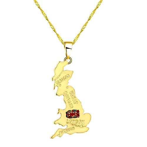 TFOOD halsketting voor dames, Britse vlag, kaarthanger, ketting van goud, bedeltjes, sieraden, etnische stijl, patriotisch geschenk