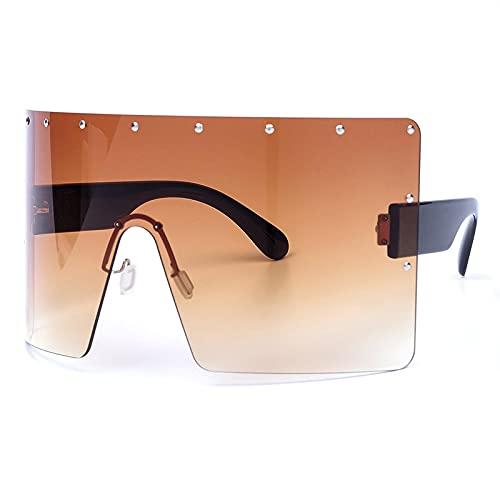 ShZyywrl Gafas De Sol De Moda Unisex Gafas De Sol Graduadas De Gran Tamaño para Mujer, Gafas De Sol Cuadradas Sin Montura De Cristal para Mujer, Sombras Uv400,