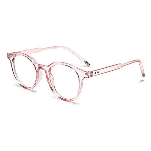 Fashion Vintage Ultraleichte runde Strahlenschutzbrille mit blauem Licht, blockierende Brille für Computerspiele, flache Spiegelbrille (Pink)