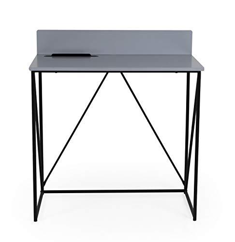 tenzo 1401-812 TELL Designer Bureau, Plateau en panneau MDF gris. Piètement acier laqué noir, 75/86 x 80 x 48 cm (HxLxP)