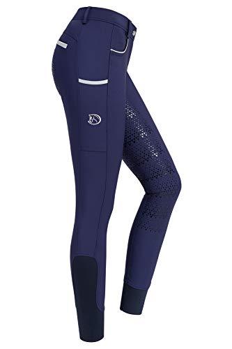 RIDERS CHOICE Pantalon d'équitation pour Femmes avec Fond Complet en Silicone, Limited Silver Design - RidersDeal Collection pour Les Cavaliers, New Navy, 36