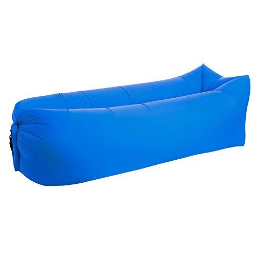 Opblaasbare slaapzak voor buiten op het strand, draagbaar, waterdicht, lekvrij, opgevouwen in een snel opblaasbare bank, blauw