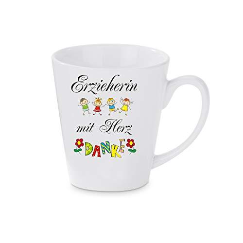 Crealuxe Konische Kaffeetasse, Kaffeepott Erzieherin mit Herz - Danke - Kaffeebecher, Becher mit Motiv, Bedruckte Latte oder Cappuccinotasse, auch indualisierbar.