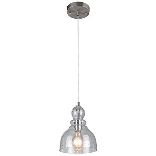 Westinghouse Lighting 6100700 One-Light Indoor Mini Pendant, Brushed Nickel Finish with Clear Seeded Glass