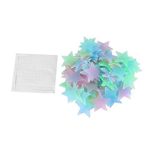 DBSUFV 100 unids/Bolsa Estrellas 3D Que Brillan en la Oscuridad Pegatinas de Pared Luminosas Pegatinas de Pared Fluorescentes para niños habitación de bebé Dormitorio