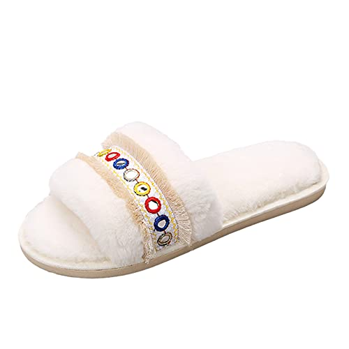 URIBAKY - Zapatillas de exterior para mujer, transpirables, de color puro, con tacón antideslizante, para interior y exterior, blanco, 42 EU