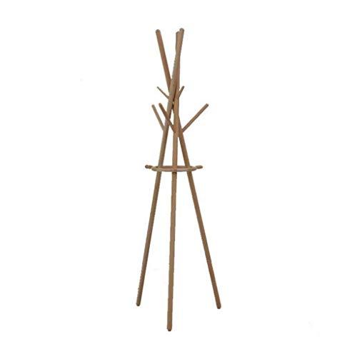 NSYNSY Muebles Percheros, Perchero de Madera Perchero de Ropa de Madera Sombrero Bolsa Paraguas Organizador Colgante con 6 Ganchos para Pasillo Dormitorio 175 cm