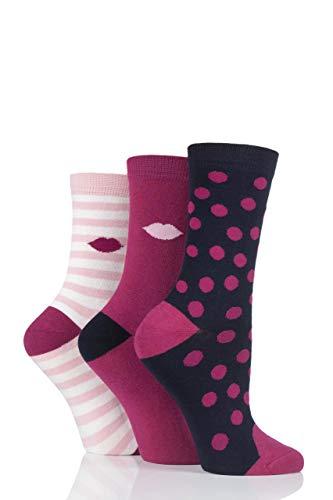Lulu Guinness Damen Punkt und Streifen Baumwollsocken Packung mit 3 Rosa 37-41