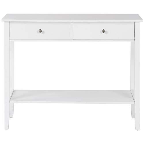 YTDZ Consola de 2 cajones, estación de trabajo de escritorio con patas de madera de pino para salón, dormitorio, pasillo (blanco)