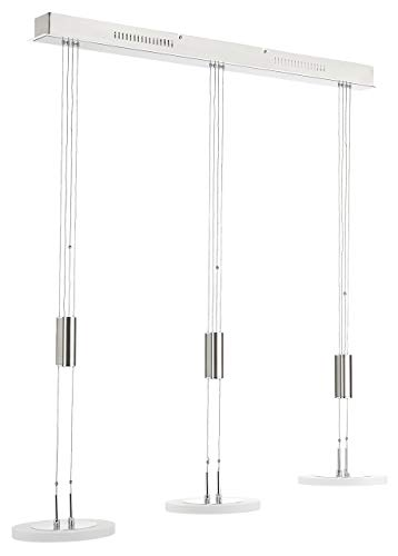 Fischer & Honsel Pendelleuchte 3x LED 8,5W nickel matt/chrom, Acrylgl.L.100cm, 210833