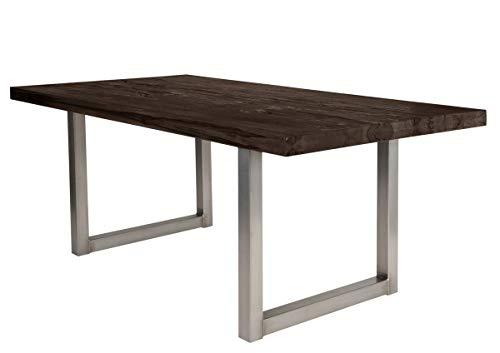 Sit Möbel Tische Tisch 220x100 cm, Balkeneiche Carbon-grau Platte Balkeneiche, Gestell Eisen L = 220 x B = 100 x H = 76 cm Platte Carbon-grau, Gestell antiksilbern