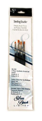 Silver Brush SS-103 Sterling Studio Golden Taklon Short Handle Bright Per Filbert Brush Set, 4 Per Pack