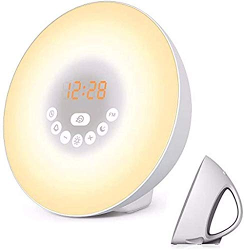Digitale zonsopgang Wekkerradio met Wakup Light Oplaadbare batterij Natuurgeluid 7 kleuren Nachtverlichting AM / FM-radio Instelbare helderheid Slaap