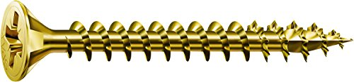SPAX Universalschraube, 4,0 x 40 mm, 200 Stück, Kreuzschlitz Z2, Senkkopf, Vollgewinde, 4CUT, YELLOX A2L, gelb verzinkt, 1081020400403