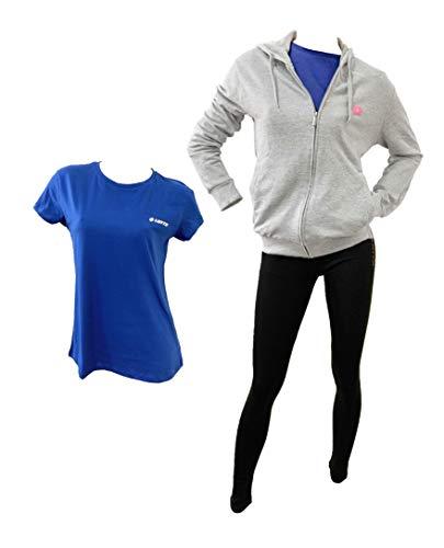 Lotto Tuta Donna Estiva, 2 PEZZI + T-SHIRT OMAGGIO, Giacca in felpa estiva, leggings in cotone elasticizzato, T-SHIRT in cotone in OMAGGIO (FELPA GRIGIA-LEGGINGS NERO-T-SHIRT BLUETTE, m)