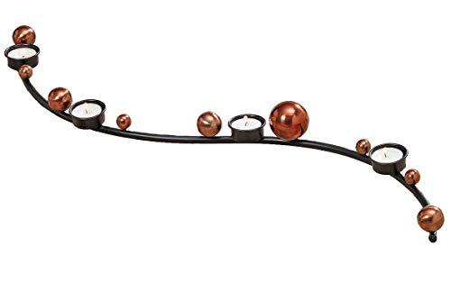 Boltze Teelichthalter Kerzenleiste - L75cm Metall schwarz, Kupfer, Adventsleuchter