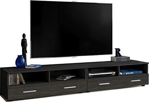 ExtremeFurniture T31-200 TV Lowboard, Karkasse in Schwarz Matt/Front in Carbon Holz