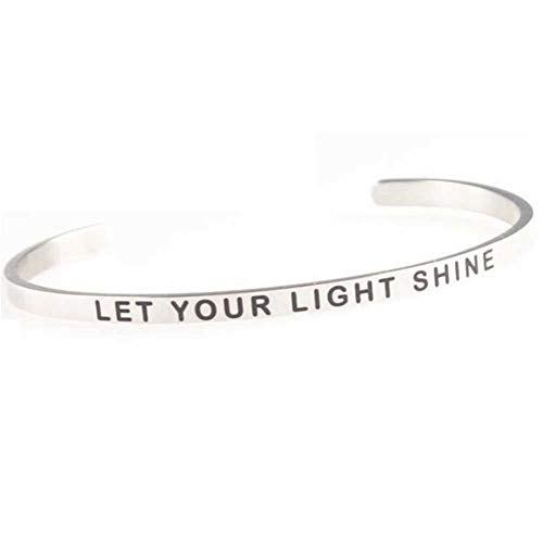 Stackable Stainless Steel Inspiration Mantra Cuff Bangle Bracelet Graduation Gift (Let Your Light Shine)
