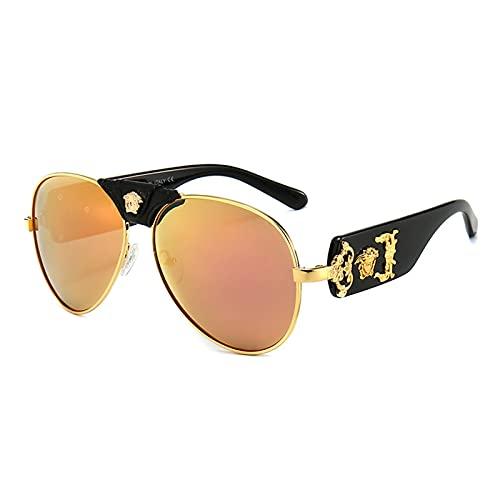 HQPCAHL Gafas De Sol para Mujer Y Hombre Moda Polarizada Decoración De Metal Protección Ultraligera UV400,A