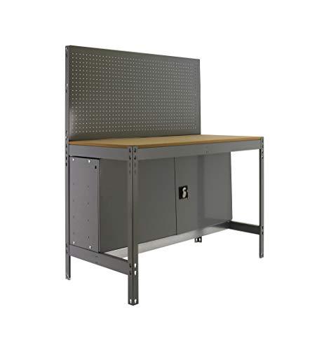 Banco de trabajo BT2 con armario Simonwork Gris/Madera Simonrack 1445x1210x610 mms - Banco de trabajo con panel - mesa de bricolaje 600 Kgs de capacidad por estante