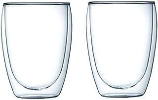 2-Piece Double Wall Insulated Glass Set - Juice Tea Espresso Cappuccino Latte Cups 12oz 350ml