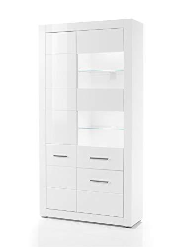 Design-Wohngalerie Vitrine Bianco IV - Korpus Weiß Mattlack/Front MDF Weiß Hochglanz