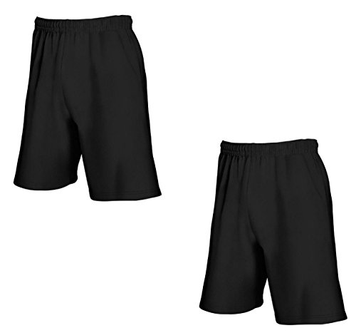 2er-Pack Fruit of The Loom Herren Kurze Sporthosen Jogginghosen Lightweight Shorts (XXL, Schwarz)