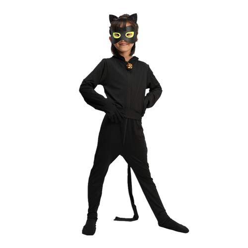 Tomlyws Ladybug Cat Noir Kostüm Set Jungen Kostüm Jumpsuit Kinder Halloween Karneval Schwarz Overall Party Cosplay Faschingkostüme M