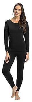 Rocky Thermal Underwear for Women Lightweight Cotton Knit Thermals Women s Base Layer Long John Set  Black - Lightweight - Medium