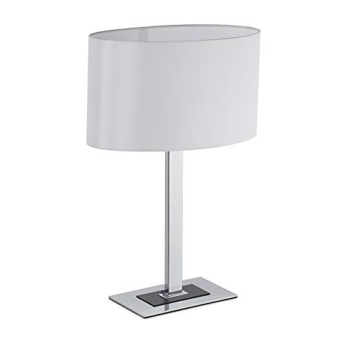 Relaxdays Lámpara para mesita de noche, elegante lámpara de mesa con cable, casquillo E14, lámpara ovalada, 48 x 33 x 19,5 cm, plateado/blanco