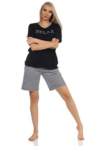 Eleganter Damen Kurzarm Shorty Schlafanzug, Hose im Pepita Look - auch in Übergrössen, Farbe:schwarz, Größe:48-50