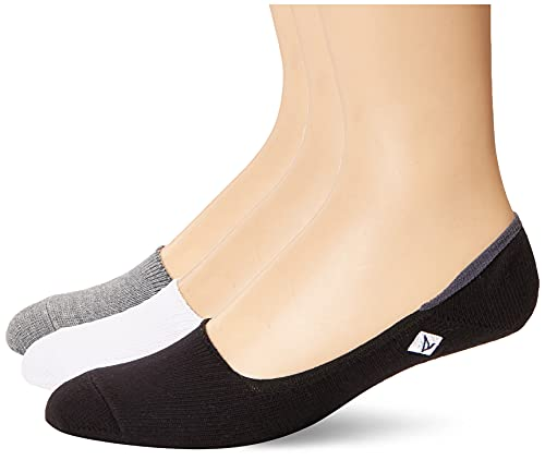 Sperry Men's Signature Invisible No Show 3 Pack Liner Socks, Charcoal Heather/Black,...