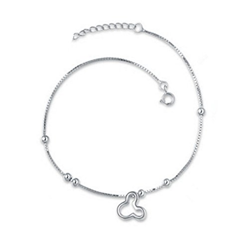 Sterling Silver Plated Hollow Cartoon Mouse Charm Women Adjustable Ankle Bracelet,10.6