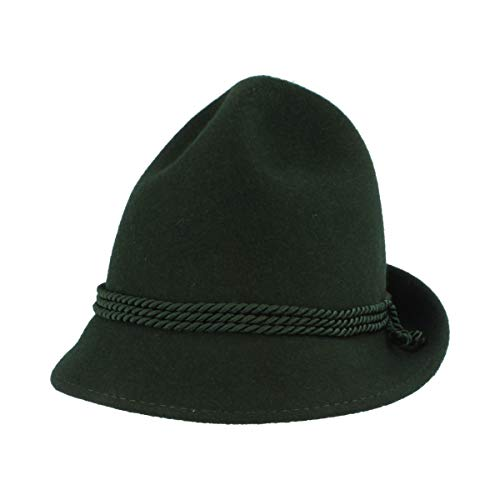 Kinder Trachtenhut   Spitzkopf   Wiesn-Hut für Kleinkinder aus 100% Wolle – Made IN Austria – 3-Fach Seidenkordel für Mädchen & Junge - Grün