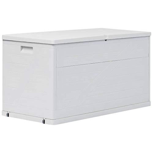 Tidyard Garten Aufbewahrungsbox Kissenbox Gartentruhe Gartenbox Gerätebox Garten Aufbewahrungsbox Gartenmöbel 420 L Hellgrau