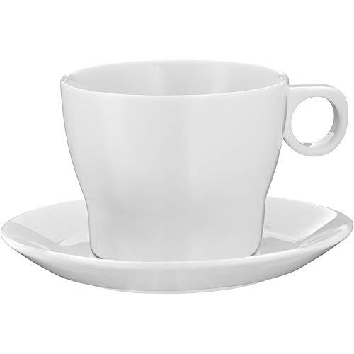 WMF Barista Café au Lait Tasse 230 ml, Kaffeetasse mit Untertasse, Kaffeeglas, Porzellan, spülmaschinengeeignet