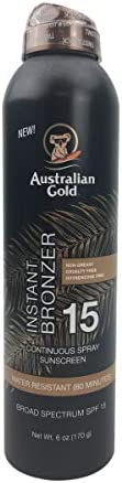 Australian Gold Continuous Spray Sunscreen with Instant Bronzer SPF 15 Immediate Glow Dries product image