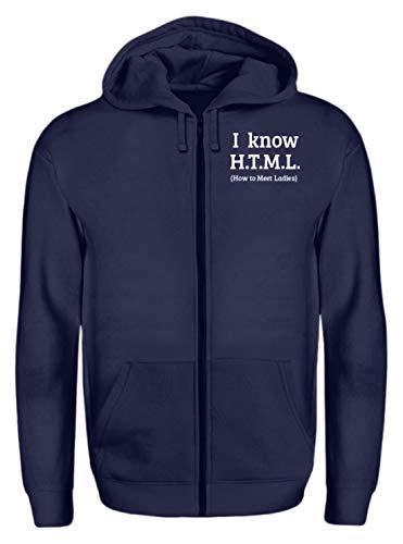 generisch I Know H.T.M.L. - How to Meet Ladies | Programmierier PHP HTML MYSQL - Zip-Hoodie -L-Dunkel-Blau