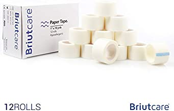 Briutcare Paper Tape (12 Pcs) | FDA Approved Medical Tape For First Aid | Hypoallergenic Fabric & Latex Free for Sensitive Skin | Micropore Surgical Tape | Ideal For First Aid Kit & Medical Use