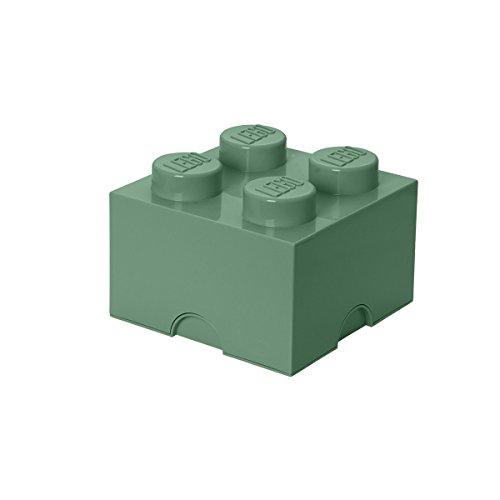 LEGO Aufbewahrungsstein, 4 Noppen, Stapelbare Aufbewahrungsbox, 5,7 l, sand grün