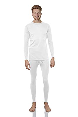 Rocky Thermal Underwear for Men Lightweight Cotton Knit Thermals Men's Base Layer Long John Set (White - Lightweight (Cotton) - Medium)