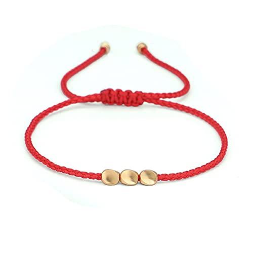 AiKoch Nuevos Perlas de Cobre Creativas tibetanas budistas Rojas Pulseras de Cuerda Negra roja for Mujeres Hombres Hecho a Mano Lucky Knots Hilo Pulseras (Metal Color : 1)