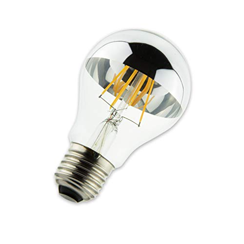 E27 LED Spiegelkopf 4W, klar, warmweiß, Top Design, ähnlich einer Glühbirne, LED E27 Edison Lampe ersetzt 25 Watt Spiegelkopfglühlampe, LED Filament Birne, LED Fadenlampe, 360° 230V AC, klarer Glaskolben, Silber verspiegelter Kopf - hochwertige Leuchtmittel von Isolicht