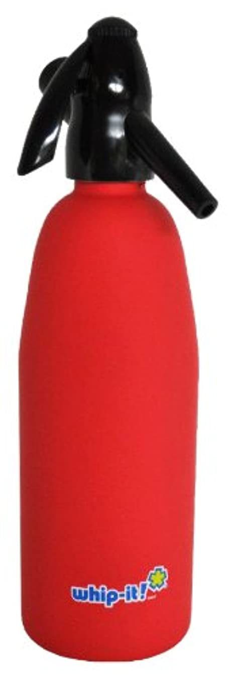 Whip-It 1-Liter Soda Siphon, Rubber Coated, Red