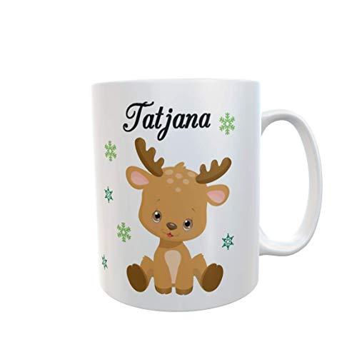 Tasse mit Namen Süsses Rentier Weihnachtstasse Wunschname